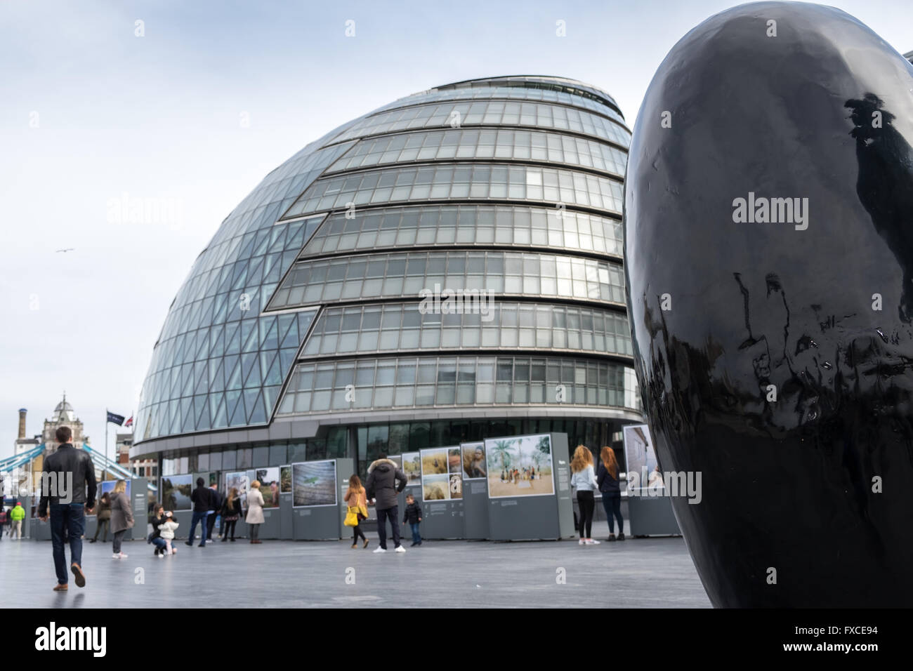 GLA building, London, City Hall Building, The Greater London Authority in Southwark, London, Britain, UK - Stock Image