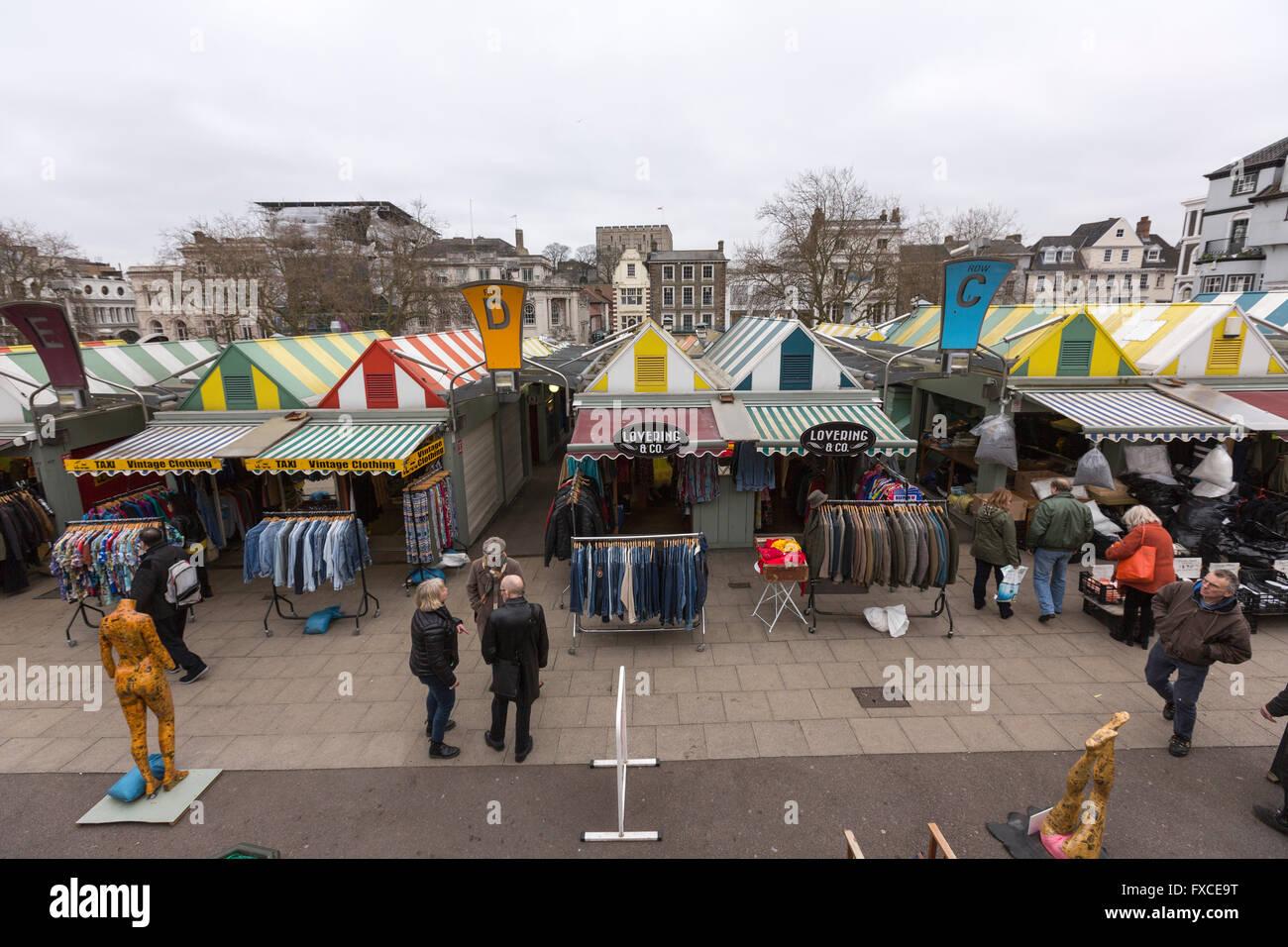 View of Norwich Market, Norfolk, England, UK - Stock Image