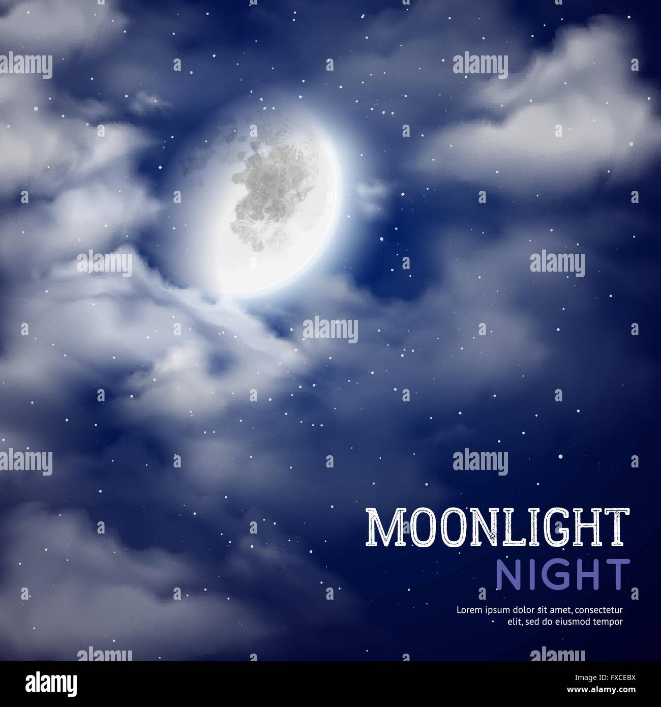 Moonlight night illustration Stock Vector