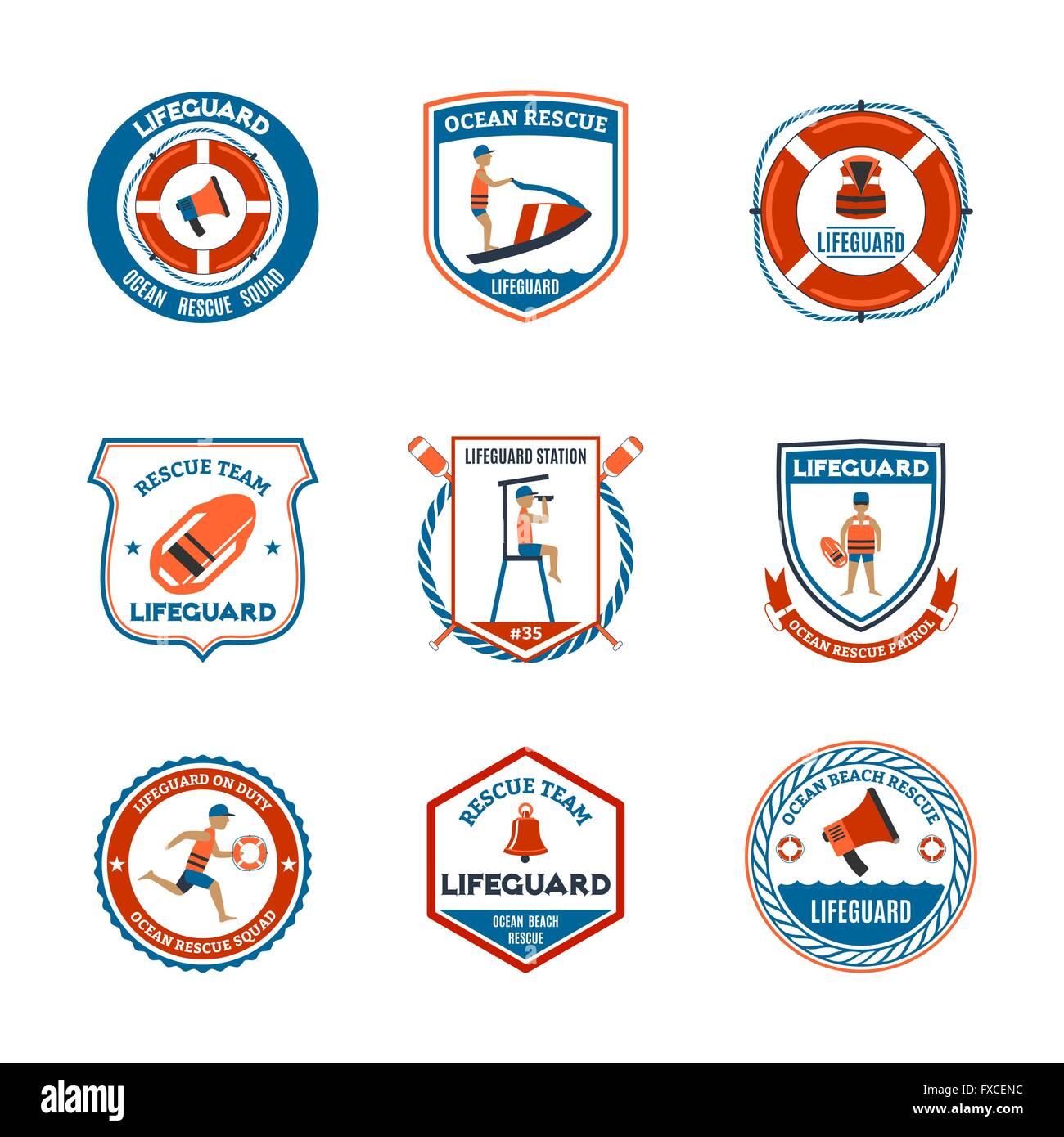6a3750f838b Lifeguard Emblems Set Stock Vector Art   Illustration