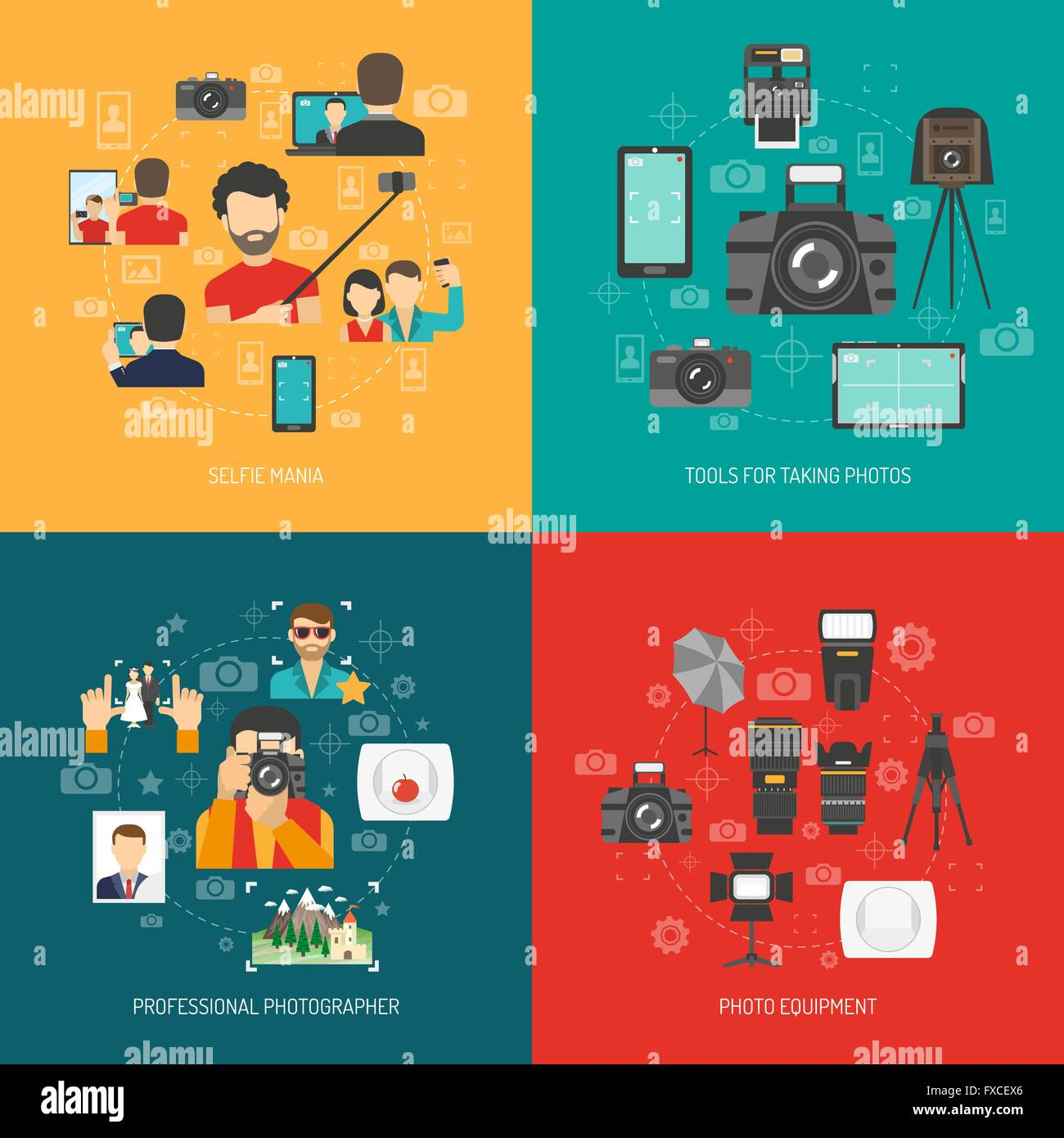 Photography concept set - Stock Vector