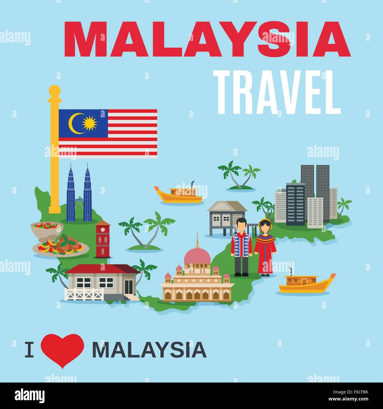 Malaysia Culture: Malaysia Culture Travel Agency Flat Poster Stock Vector