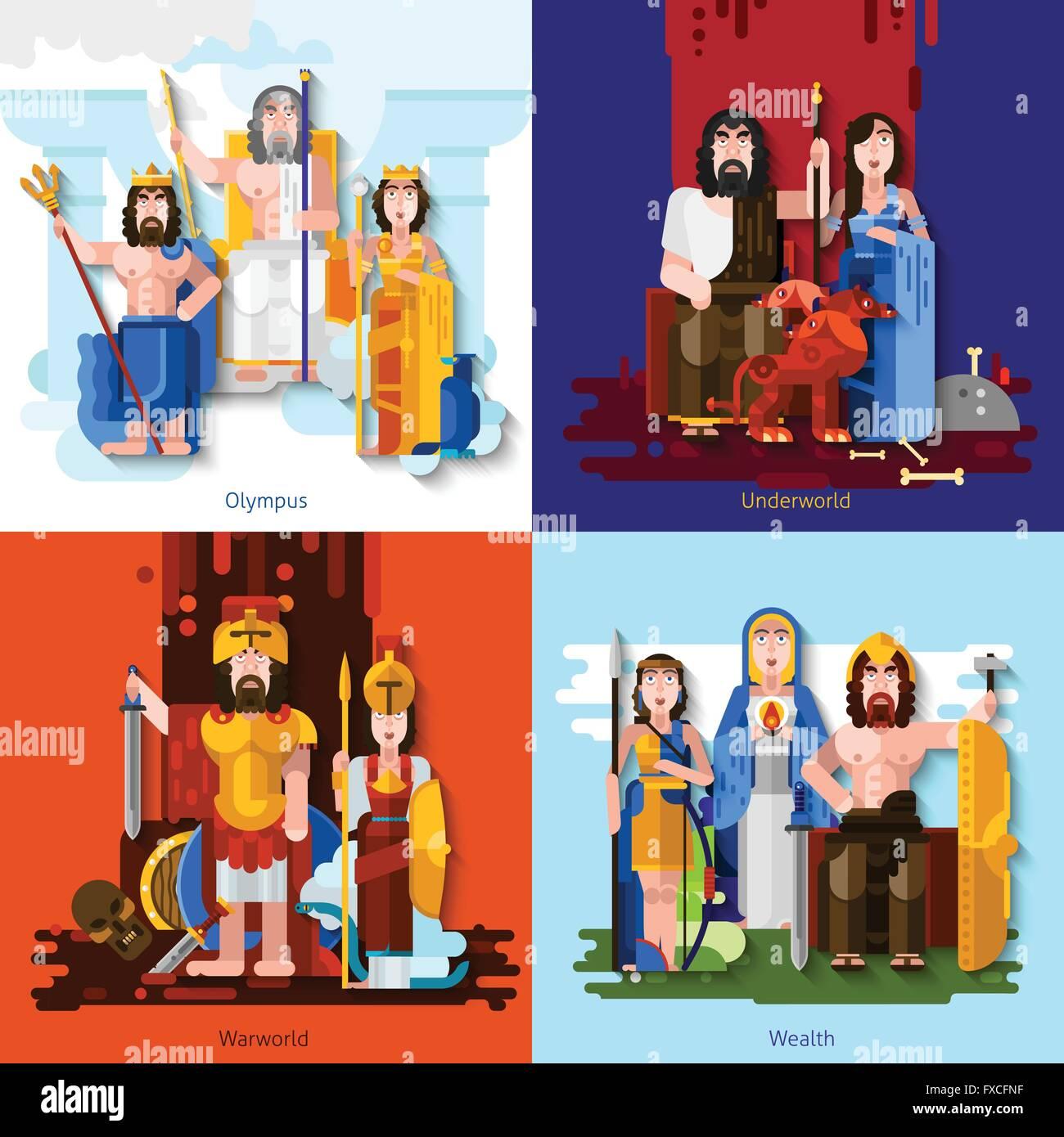Olympic Gods 2x2 Cartoon Concept - Stock Image