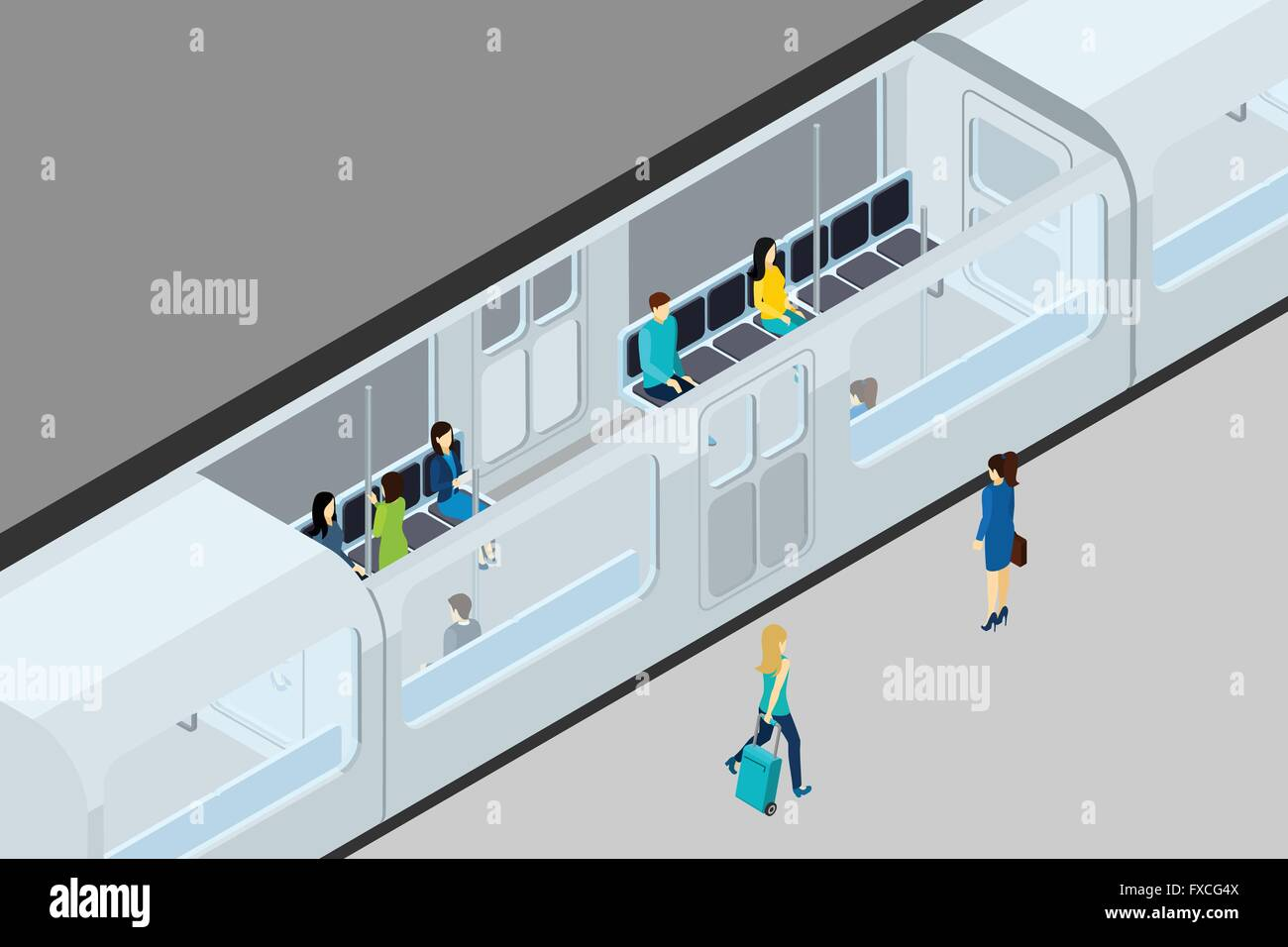 Underground People And Train Illustration - Stock Image