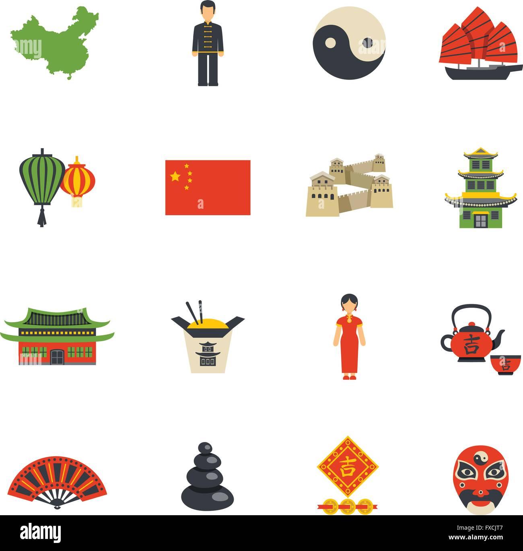 Chinese Culture Symbols Flat Icons Set Stock Vector Art
