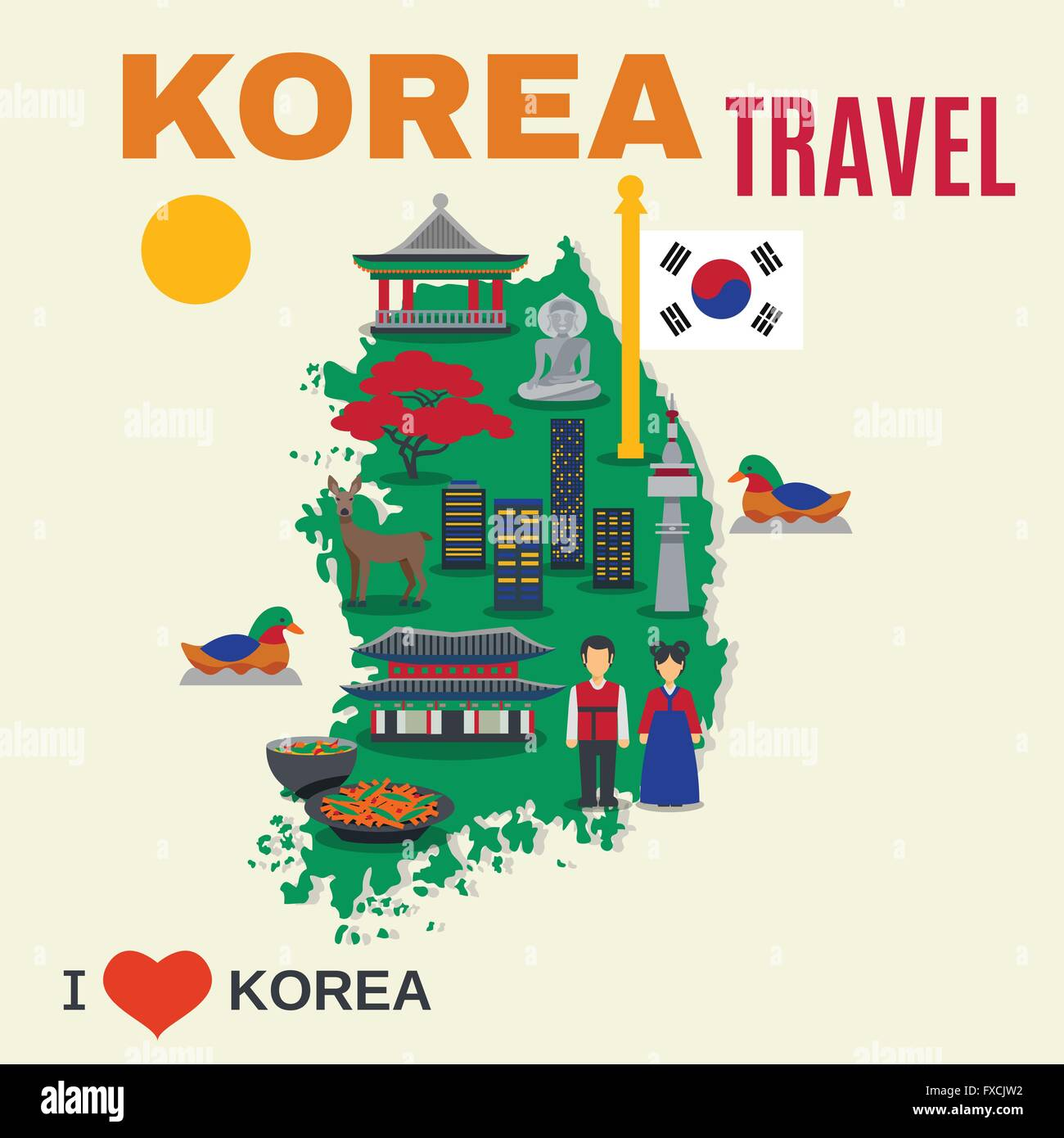 Korean Culture Symbols Map Travel Poster Stock Vector Art