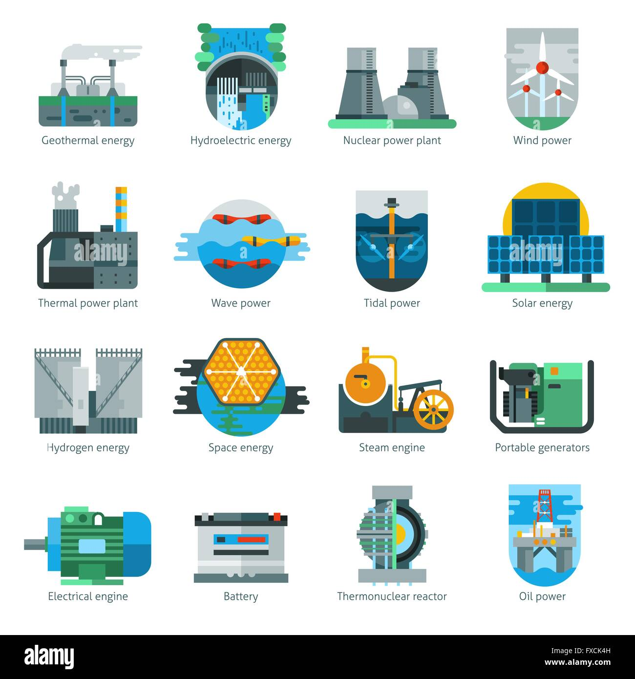 Thermal Power Plant Cut Out Stock Images Pictures Alamy Oil Diagram Energy Production Icons Image