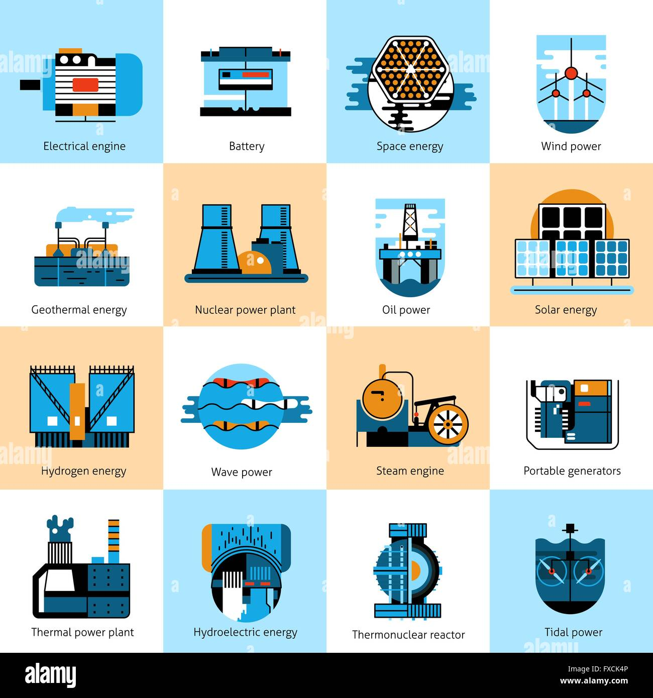 Delicieux Energy Production Flat Line Icons Set Stock Vector Art ...