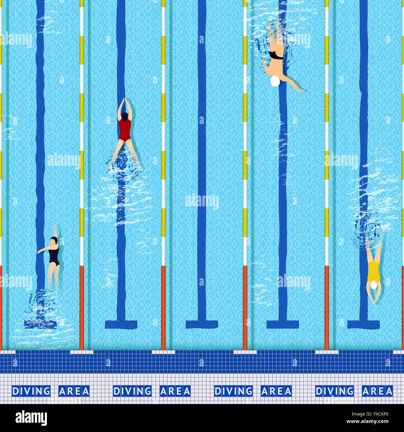 Swimming pool top view - Stock Vector