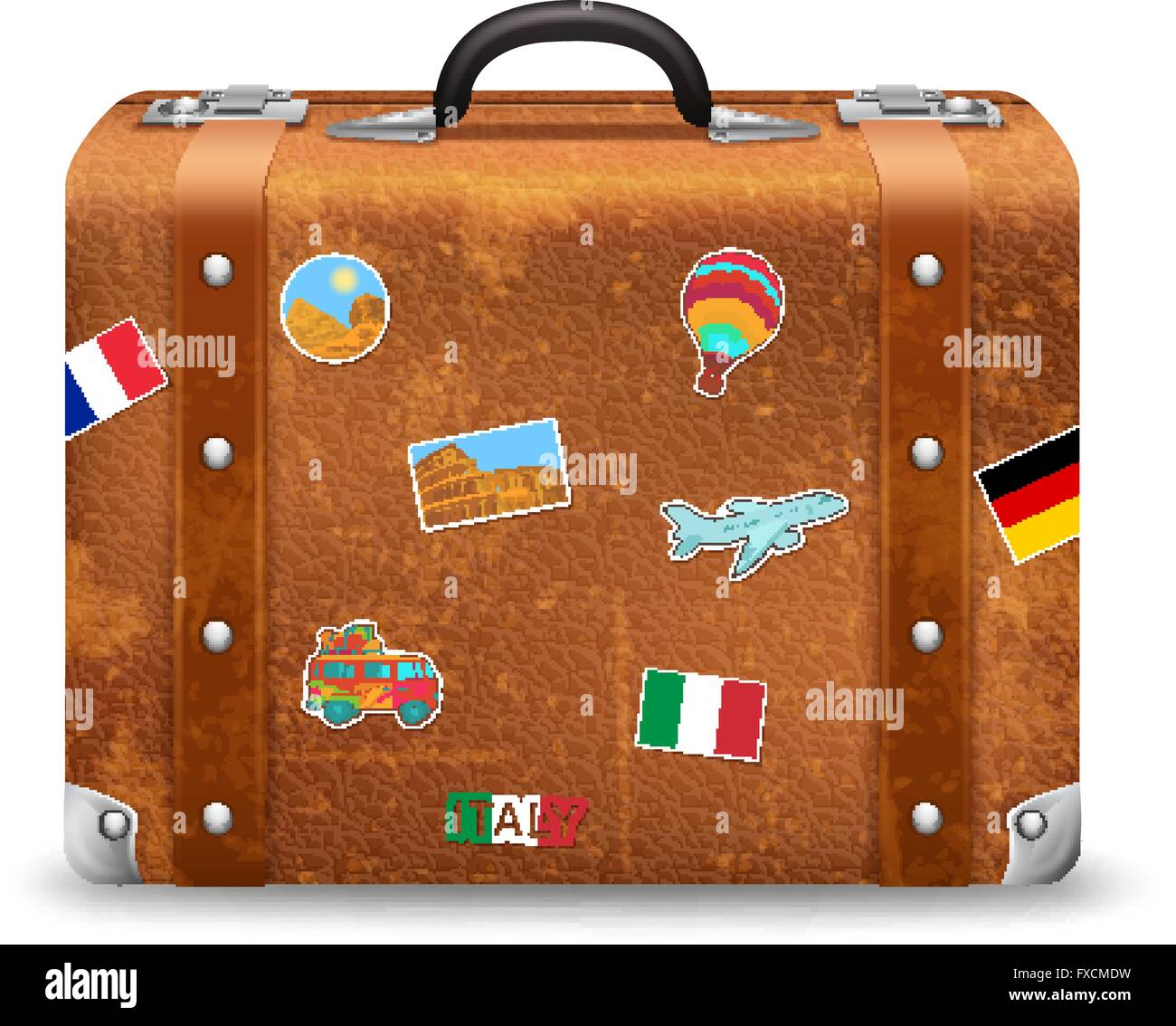 old suitcase with travel stickers stock vector art illustration