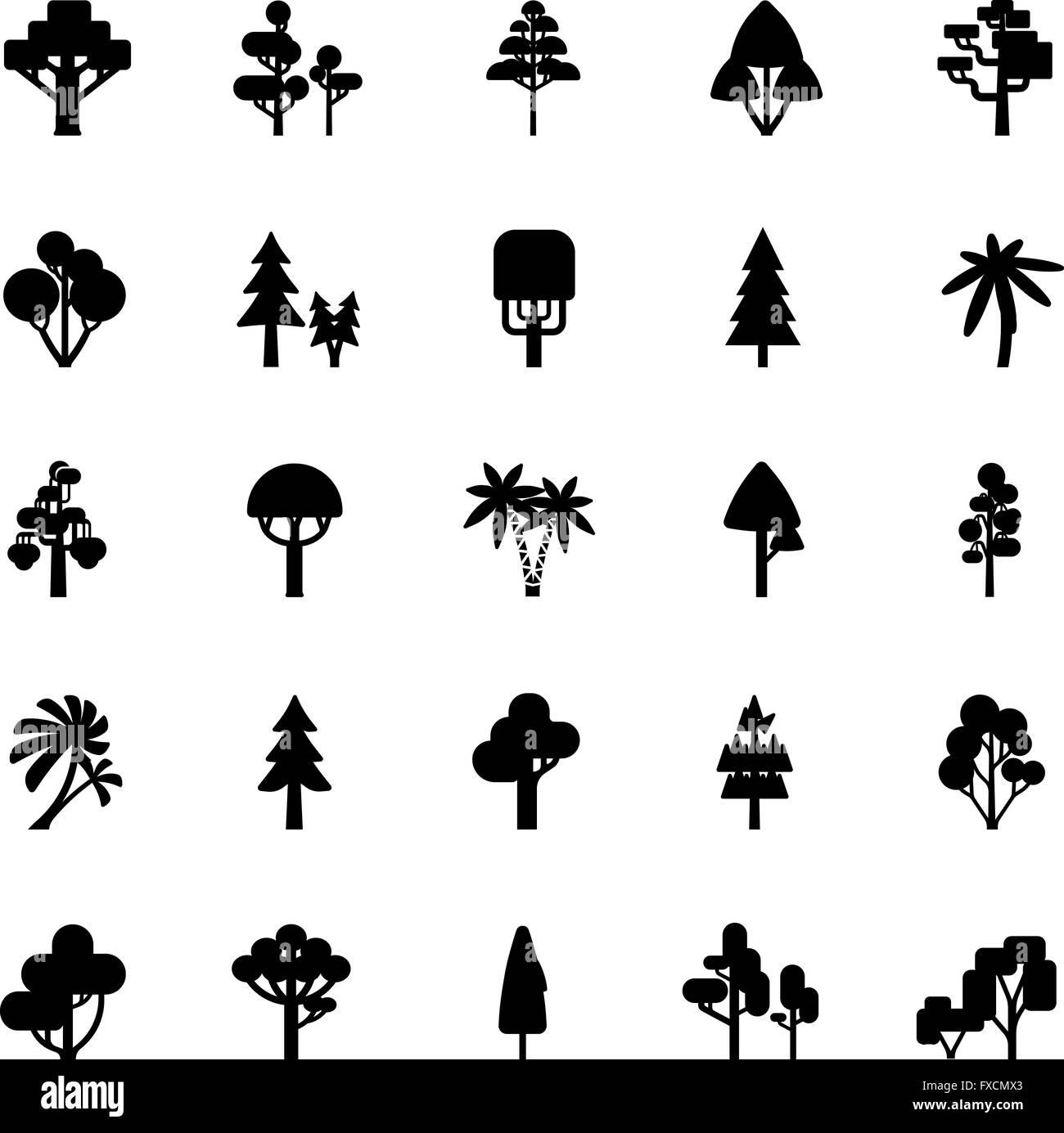Tree Set Black And White - Stock Image