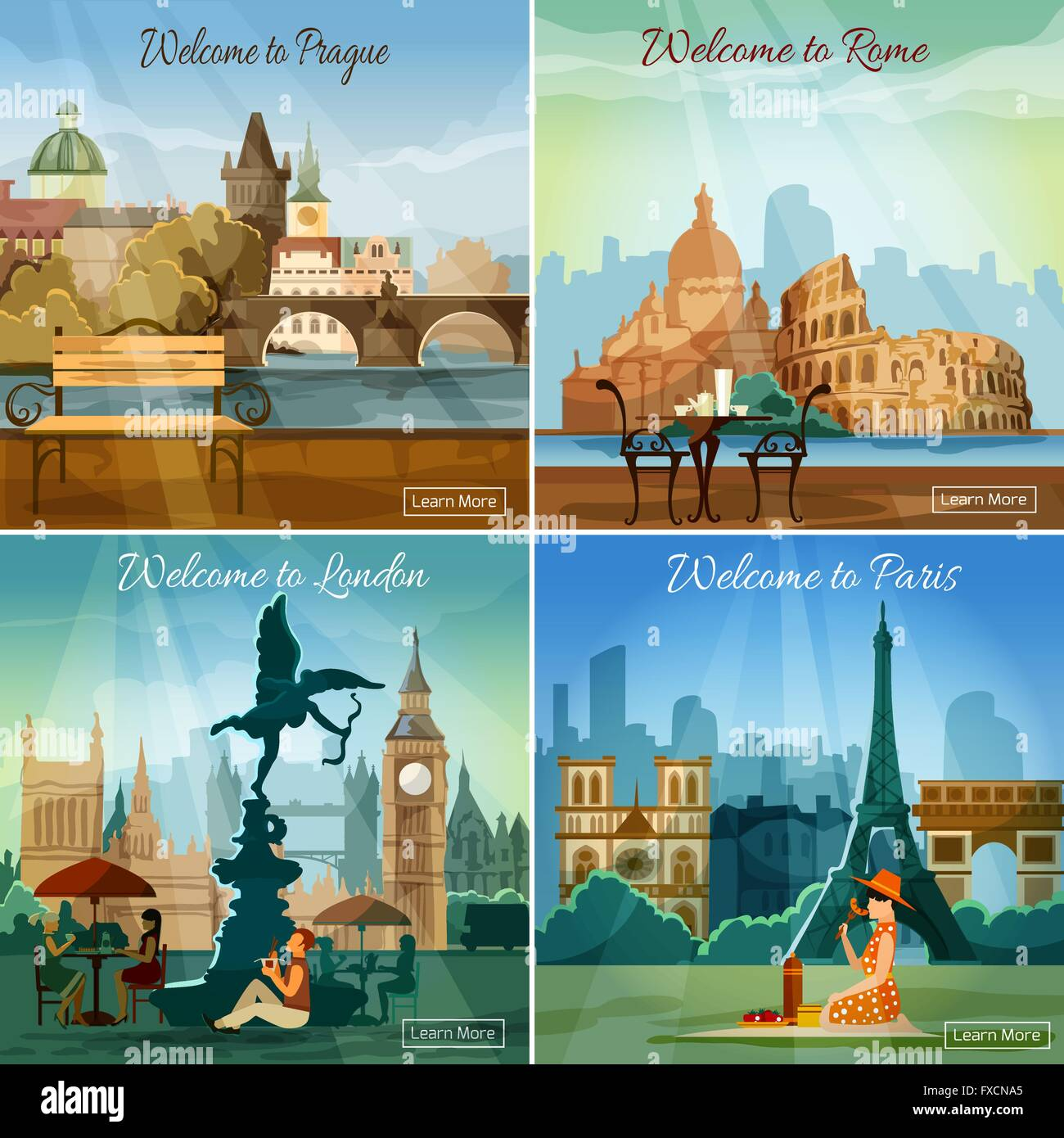 Touristic cities 4 flat icons composition - Stock Vector