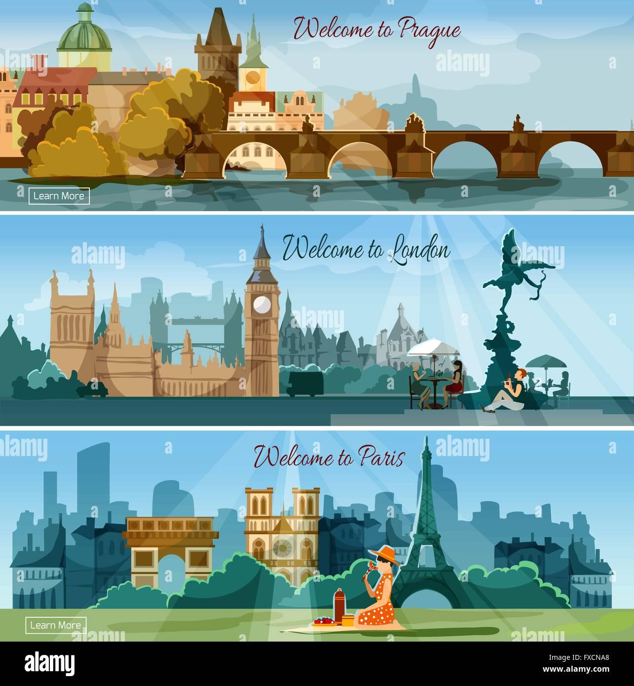 Popular touristic cities flat banners set - Stock Vector