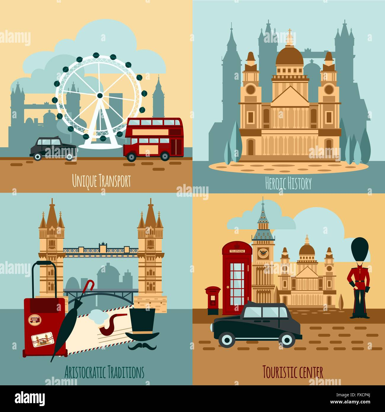 London Touristic Set - Stock Vector