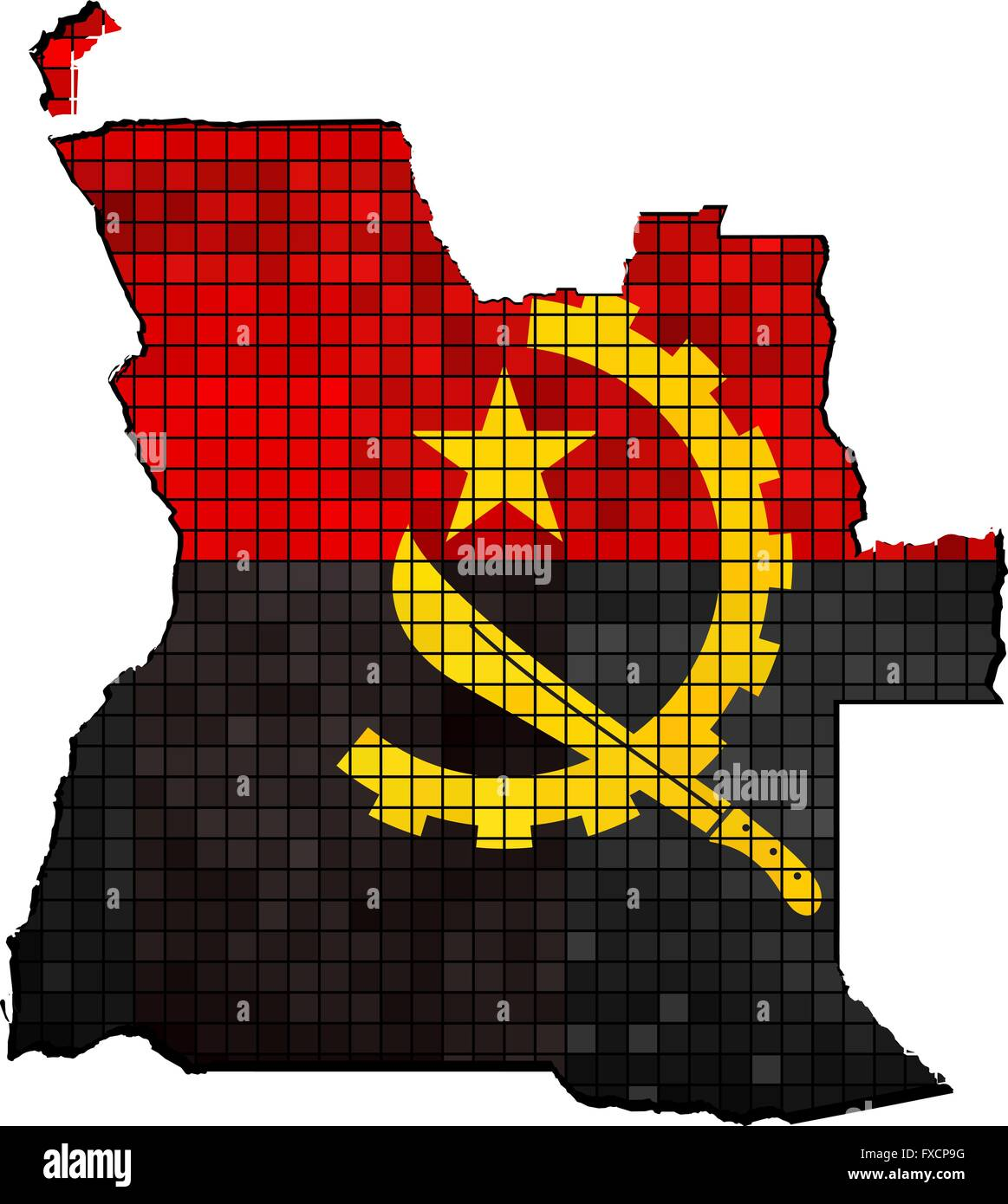 Angola map with flag inside - Stock Vector
