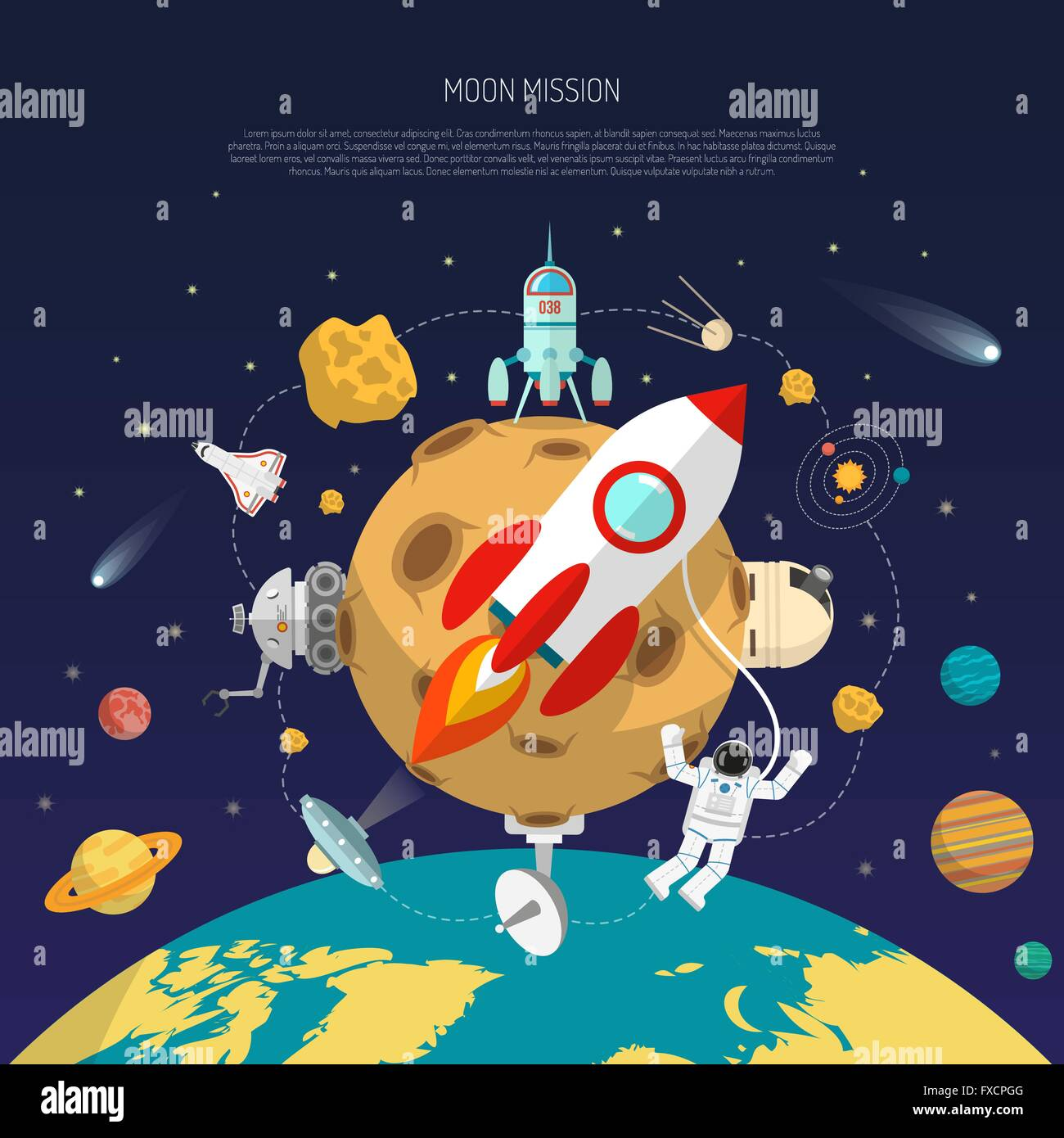Space Mission Concept Stock Vector