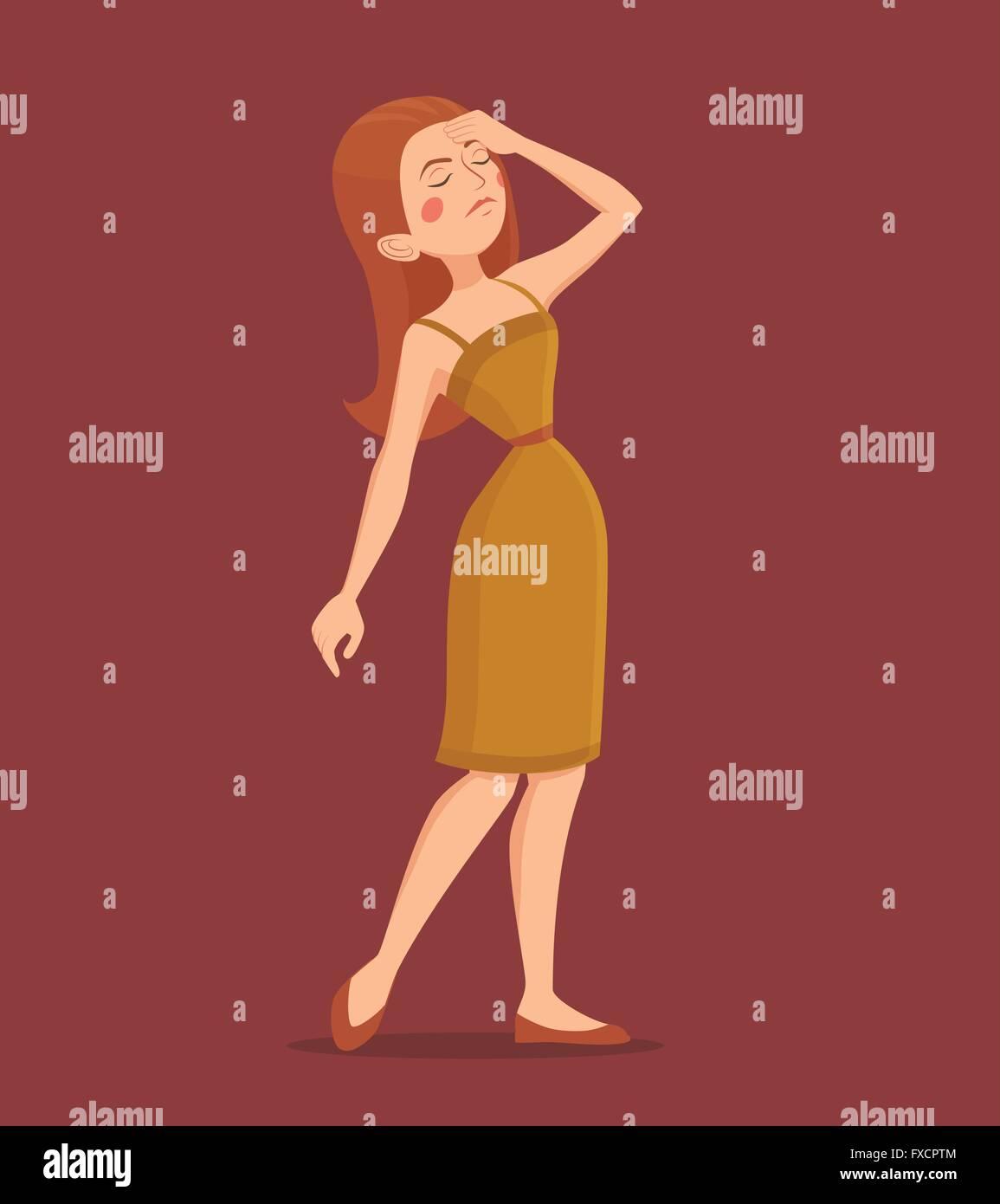 Fatigue Woman Illustration - Stock Vector