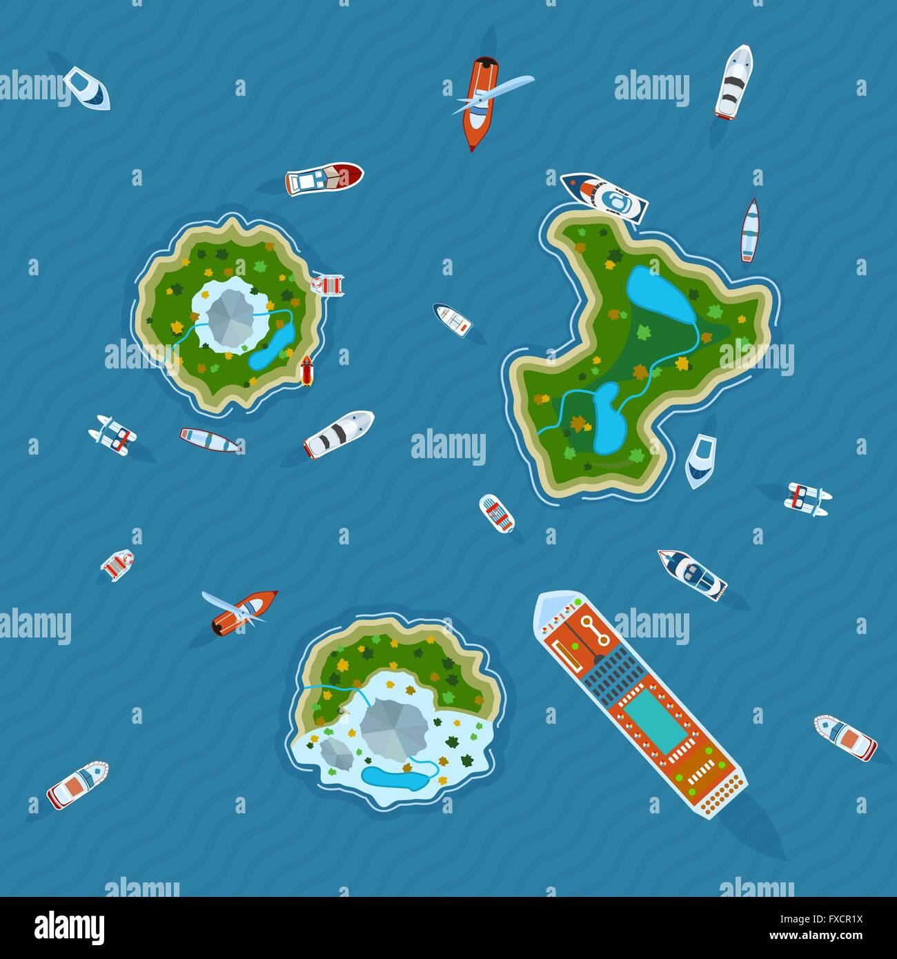 Ships around islands top view - Stock Vector
