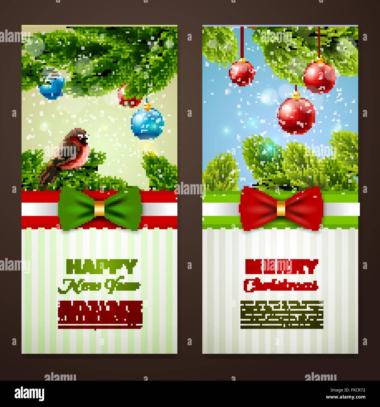 Christmas cards 2 banners set - Stock Vector
