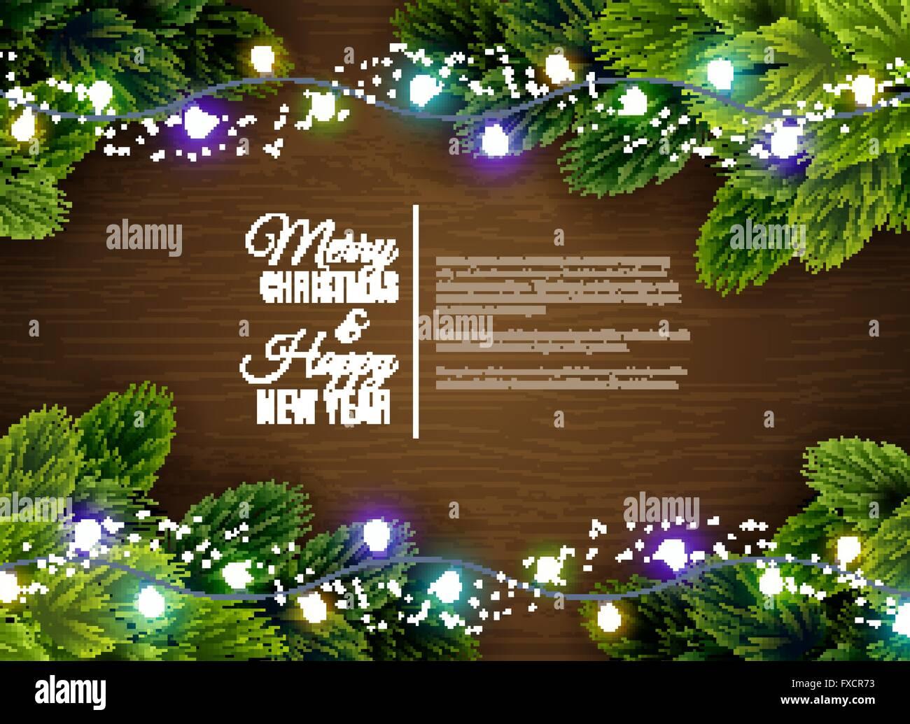 Christmas lights borger decoration season greetings - Stock Vector