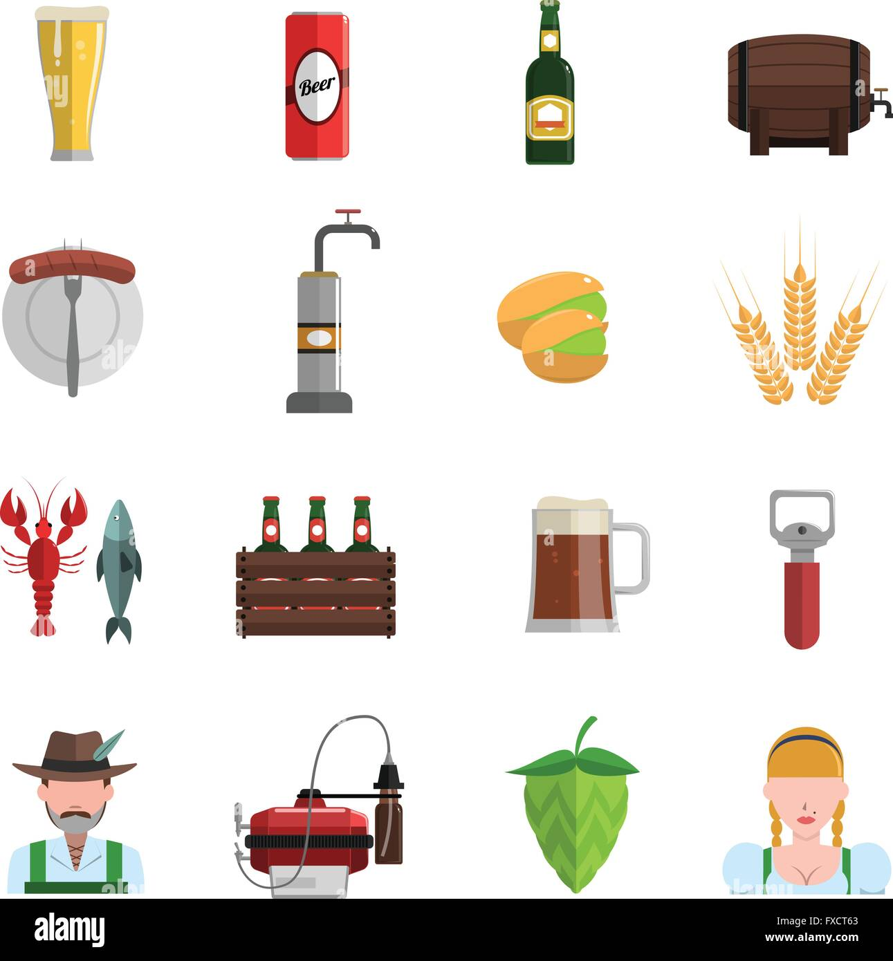 Beer Icons Flat Set - Stock Image