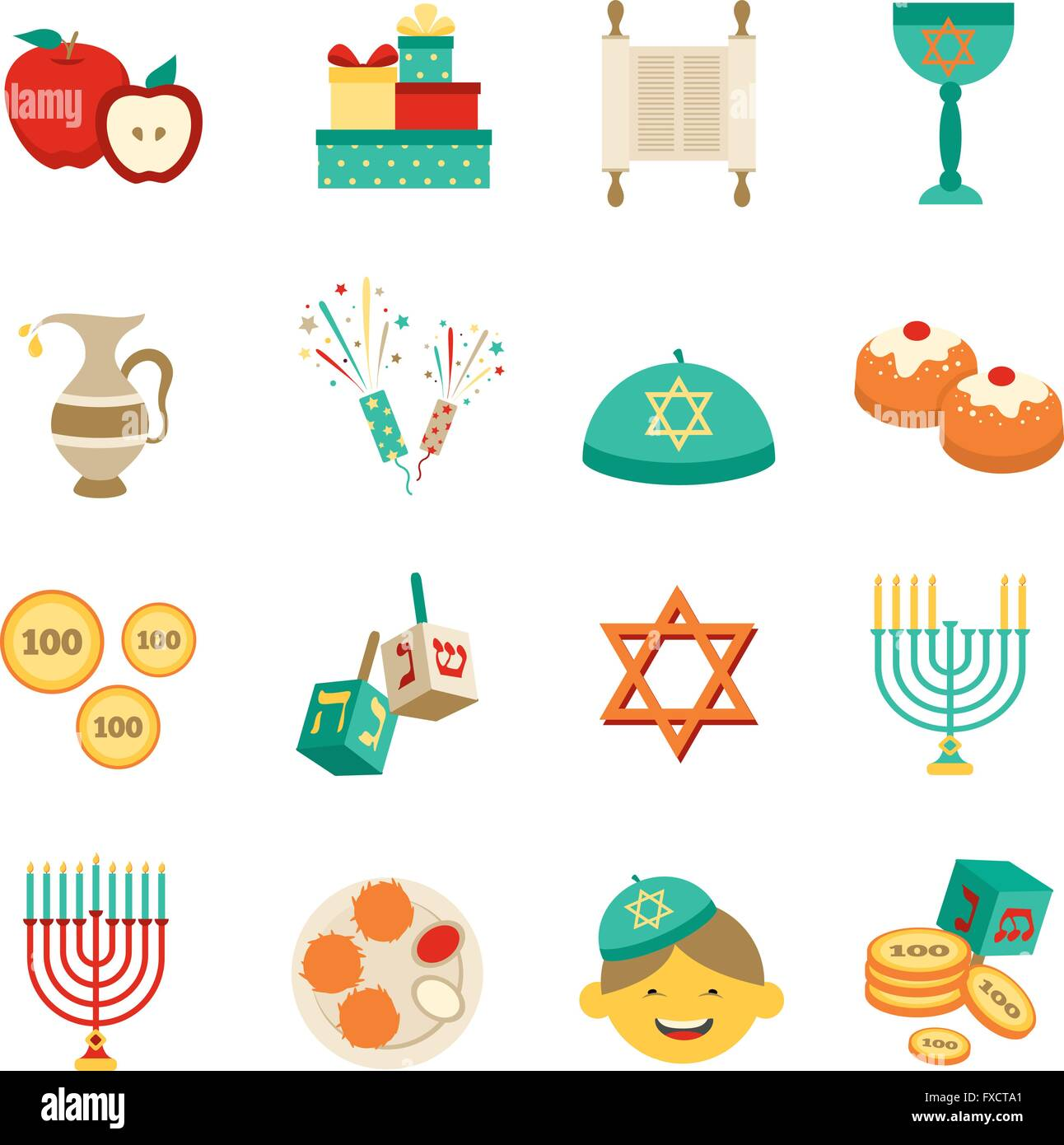 Symbols Of Hanukkah Icons Set Stock Vector Art Illustration