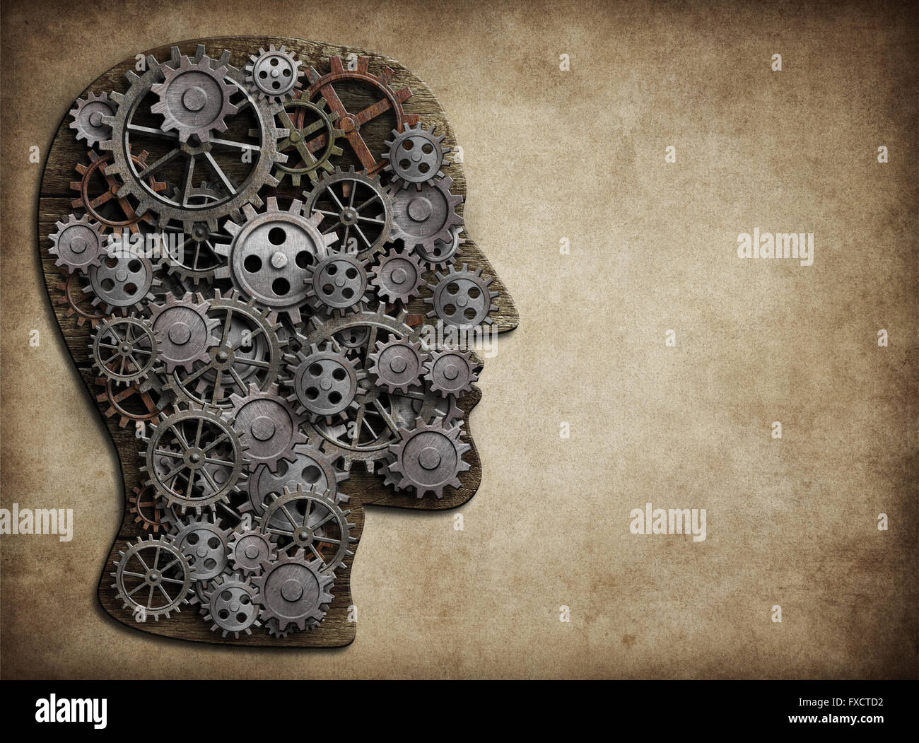 Head made from gears and cogs. Brain activity, idea concept. Stock Photo