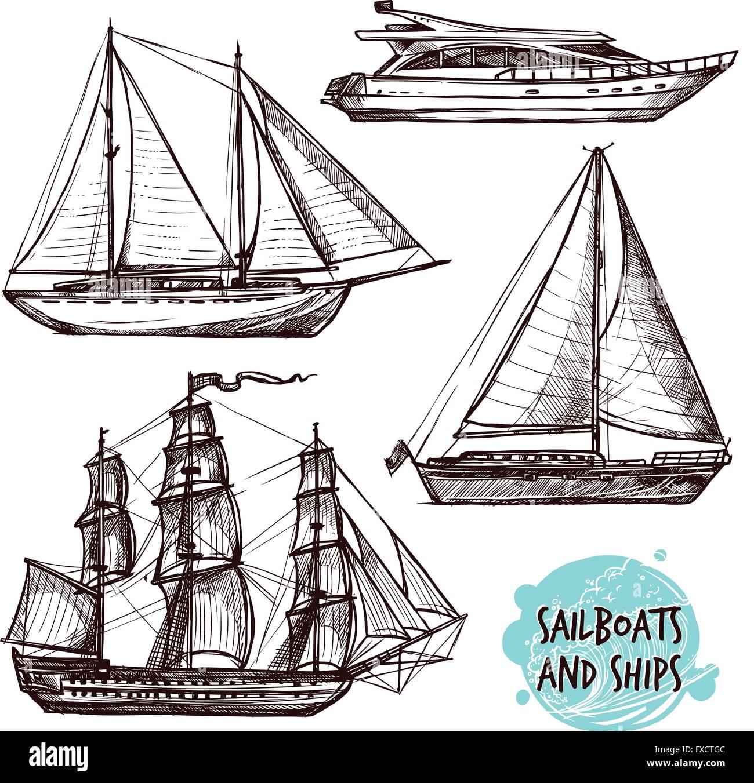 Sail Ships Set - Stock Vector