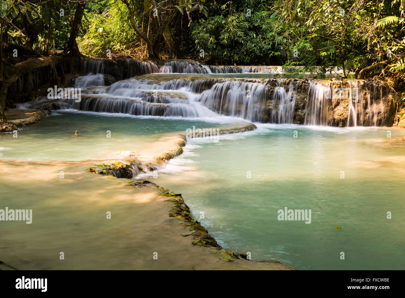 The beautiful Kuang Si Falls in Luang Prabang, Laos Stock Photo