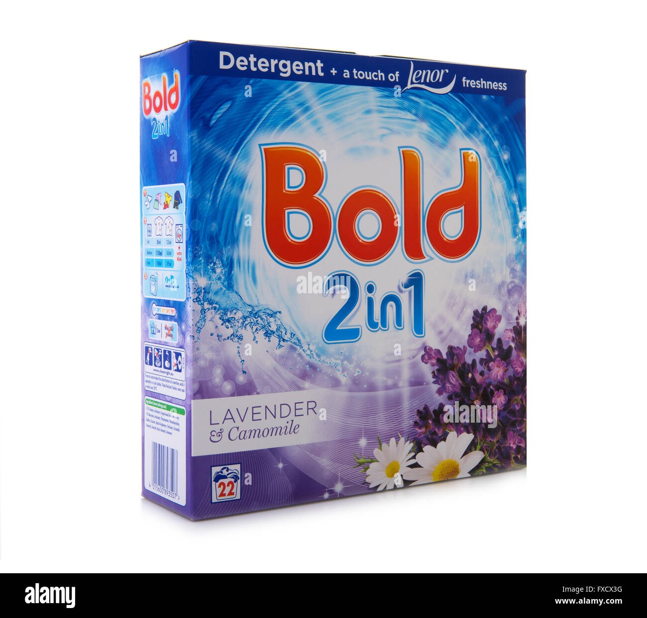 Packet of Bold 2 In 1 Lavender & Camomile Detergent and Fabric Softener, Bold is Manufactured by Procter & - Stock Image
