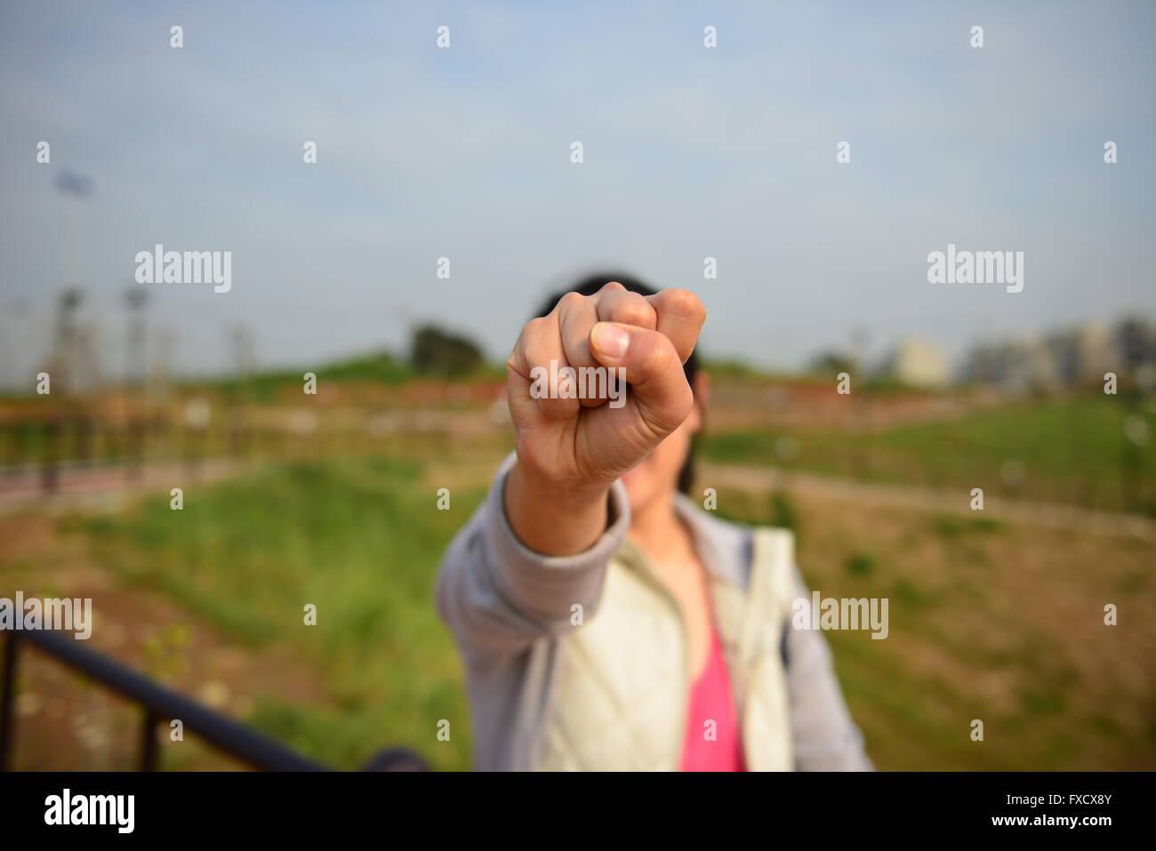 hand making the number zero - Stock Image