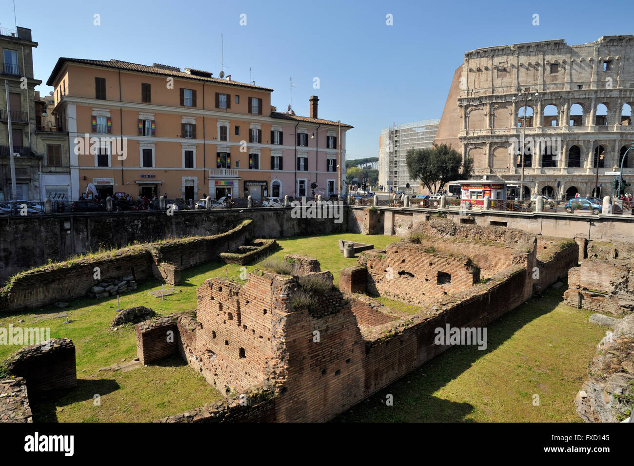 italy, rome, Ludus Magnus and colosseum - Stock Image