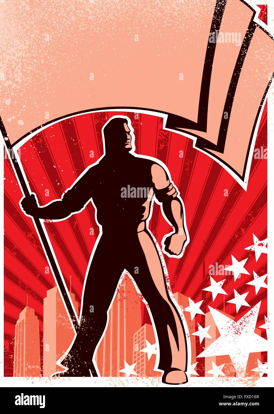 Retro poster with flag bearer. - Stock Vector