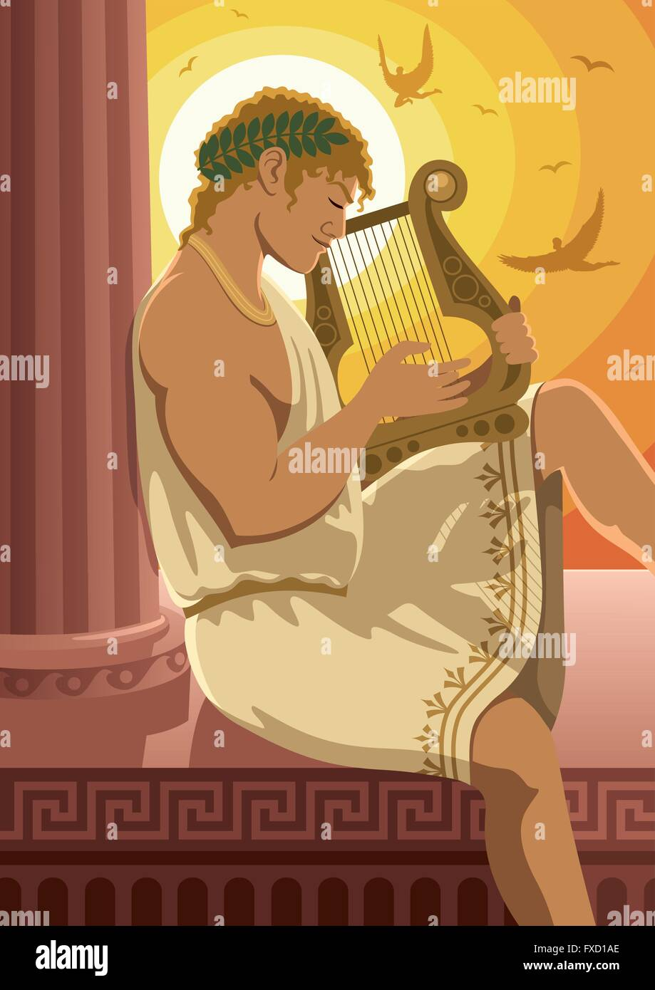 God of the sun Apollo playing his lyre. No transparency used. - Stock Vector