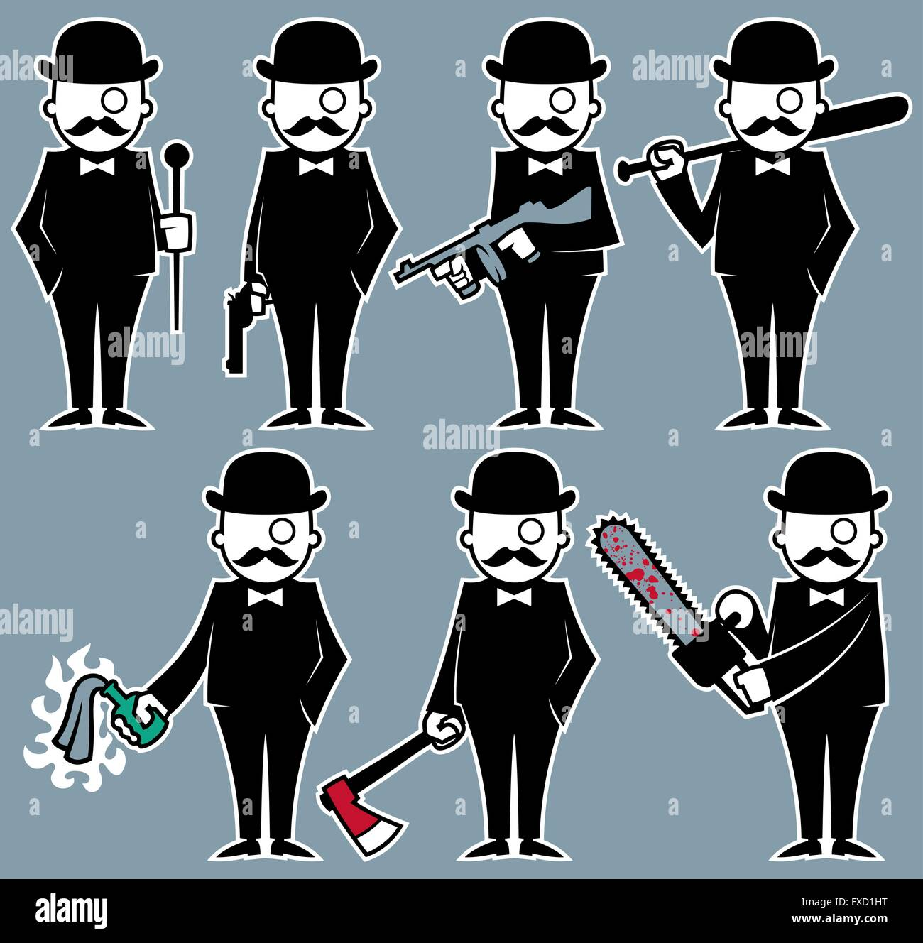 Set of 7 illustrations with violent hipster character. No transparency and gradients used. - Stock Vector
