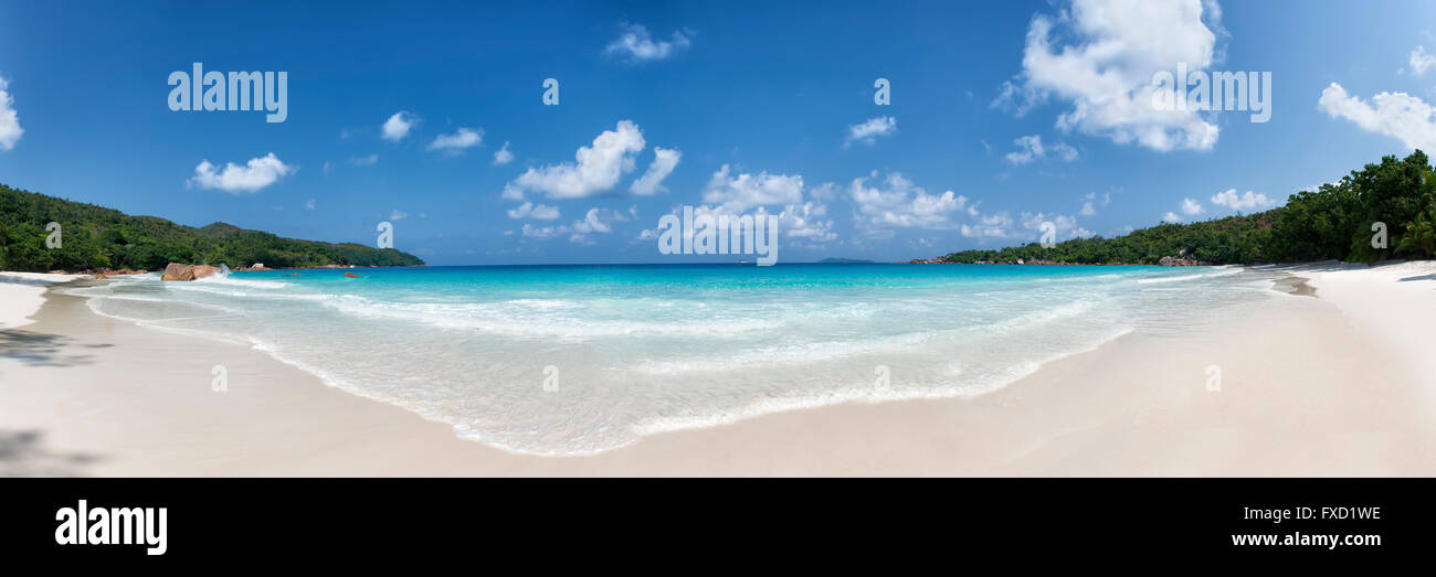 panoramic view of anse lazio beach praslin island seychelles - Stock Image