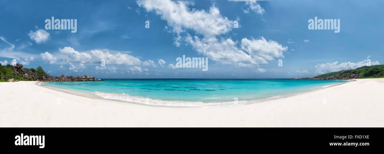panoramic view of grand anse beach la digue island seychelles - Stock Image