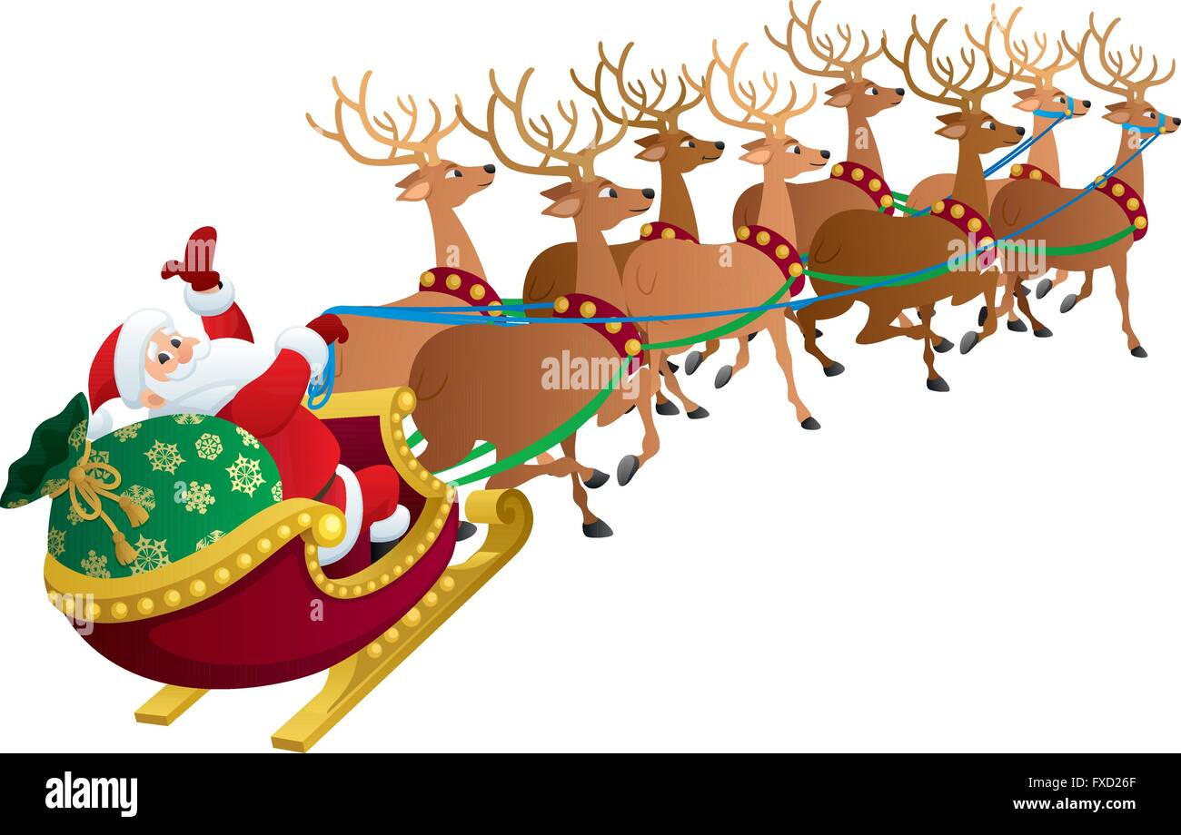 Santa Claus with his reindeers isolated on white. - Stock Image