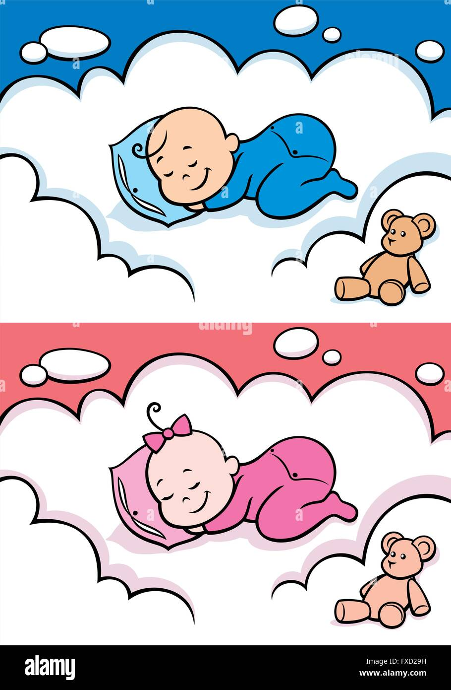 cartoon baby sleeping on cloud. the illustration is in 2 versions