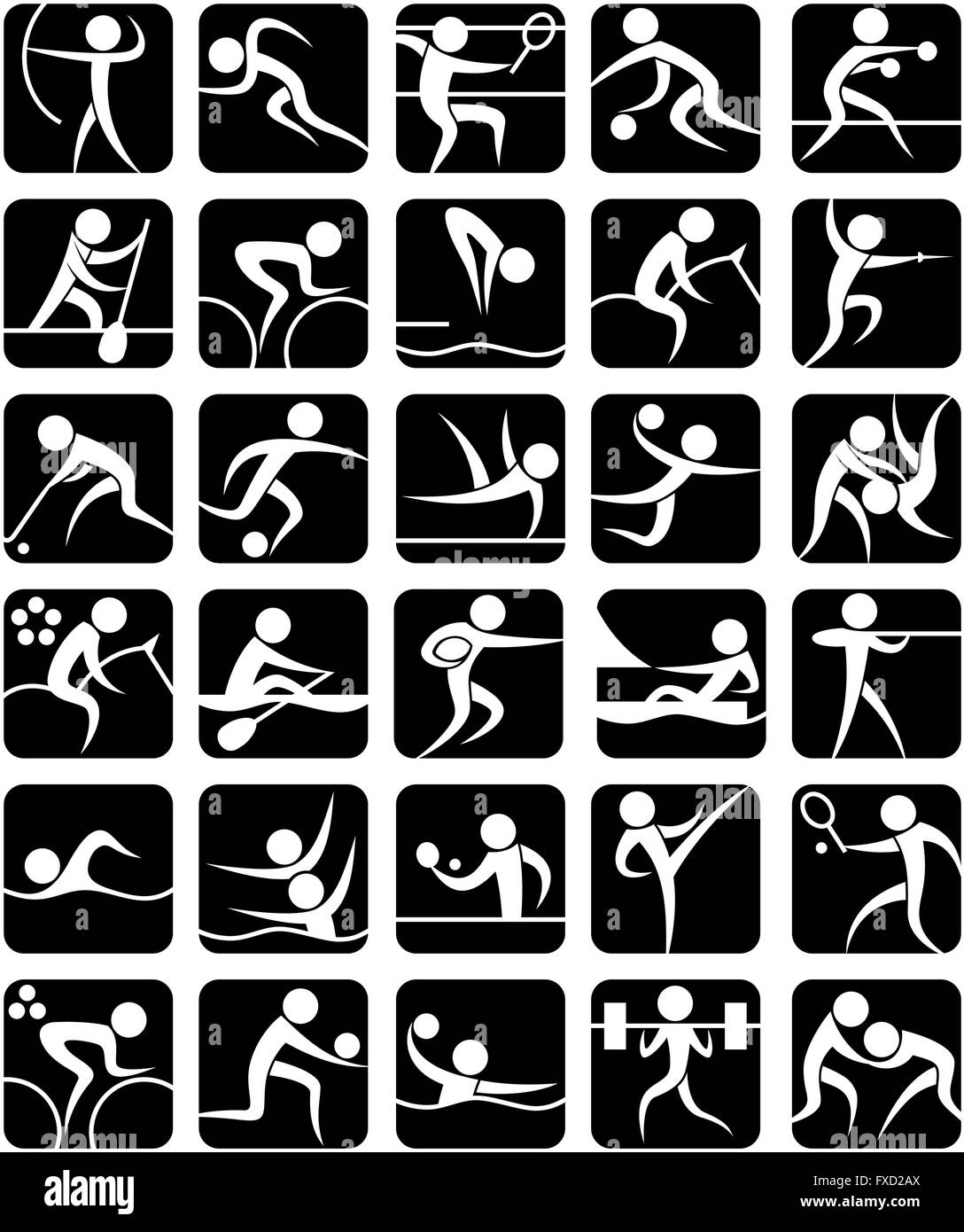 Set of 30 pictograms of Olympic summer sports. - Stock Vector