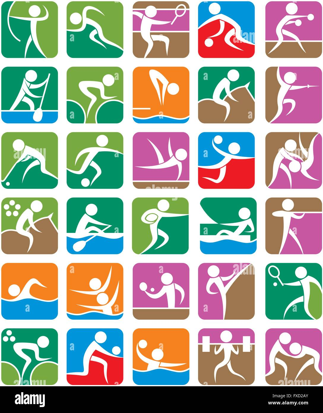 Set of 30 pictograms of the Olympic summer sports. - Stock Vector