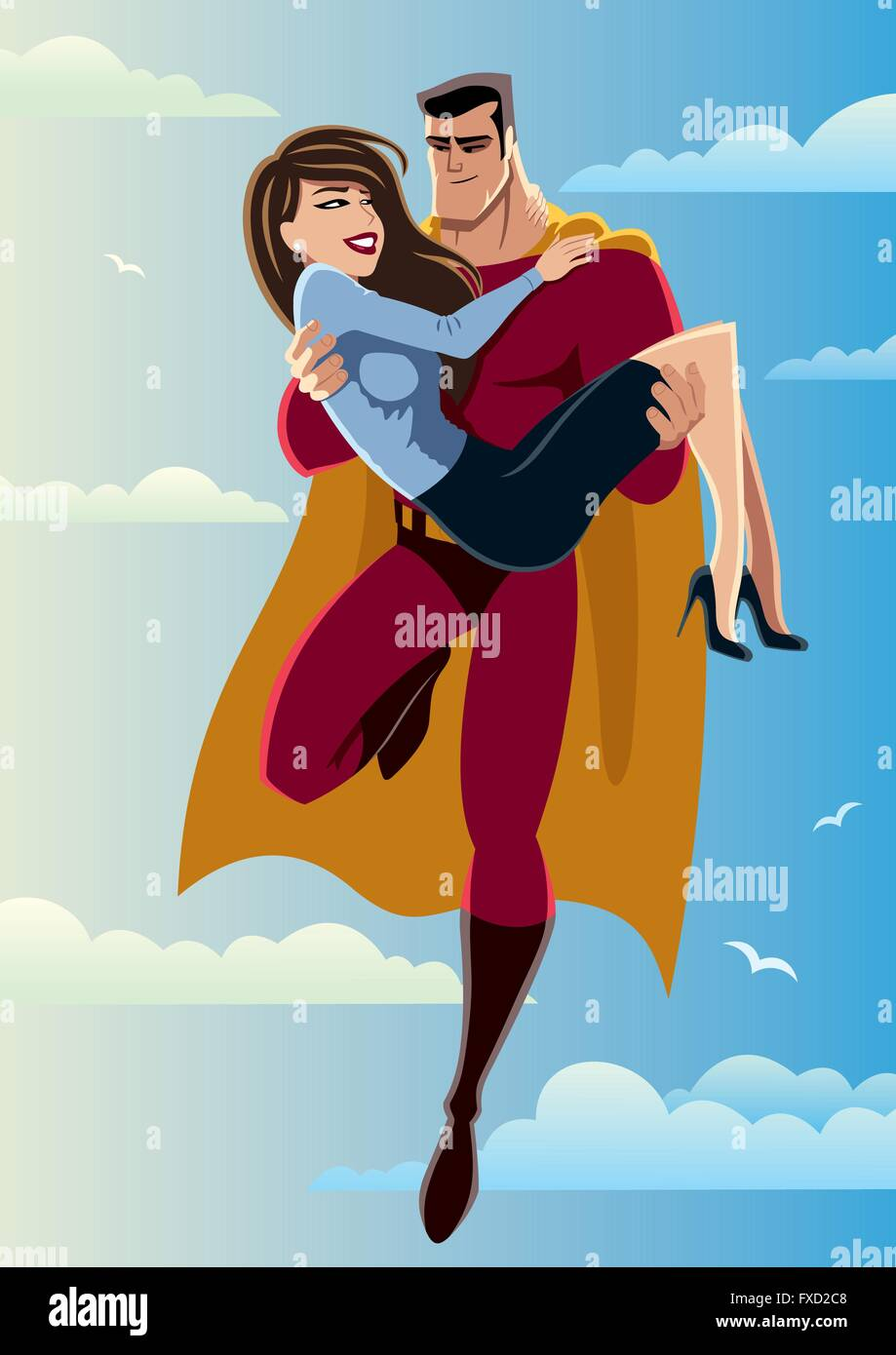 Illustration of flying superhero carrying woman in his arms. No transparency used. Basic linear gradients used for the sky and c Stock Vector