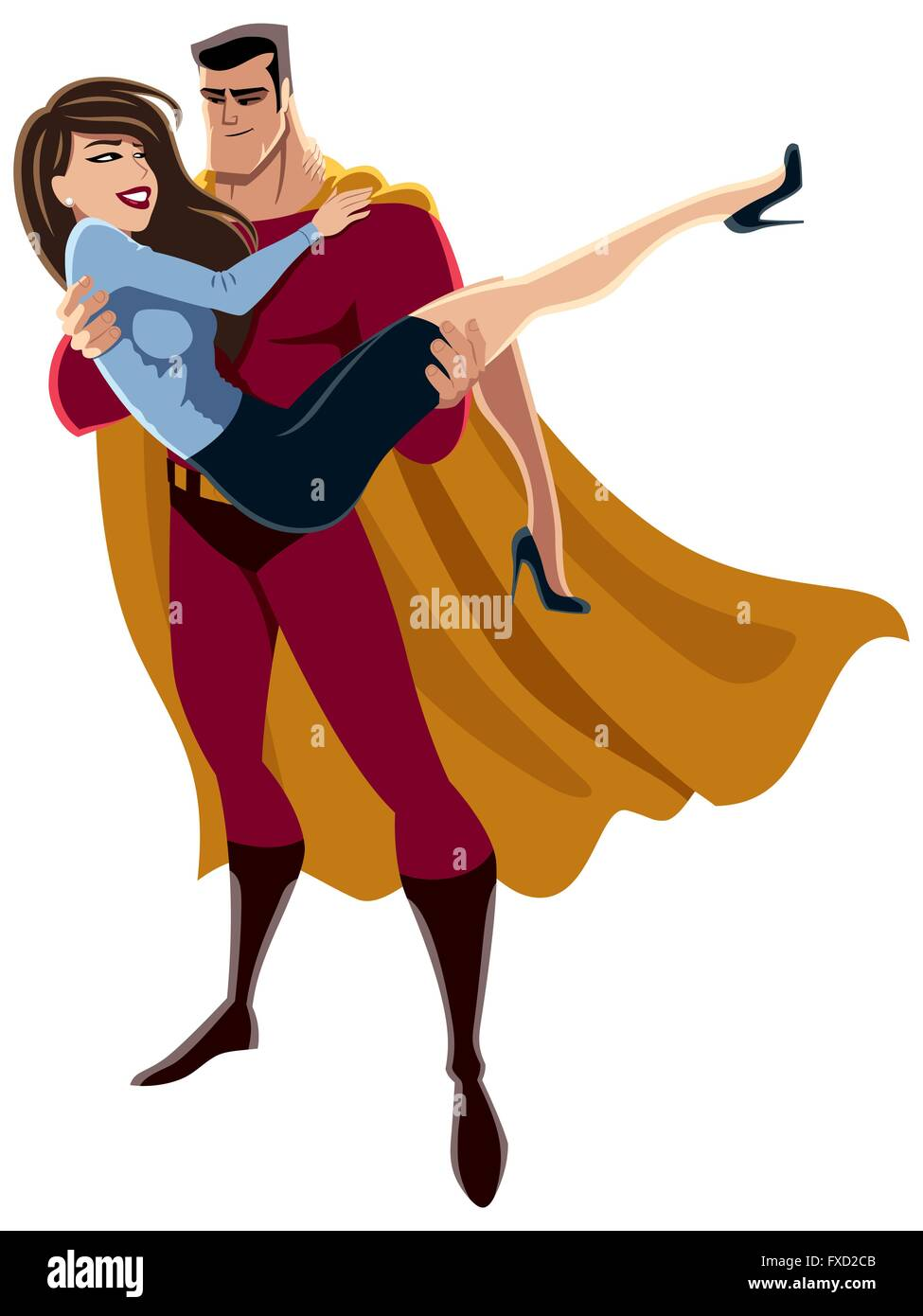 Illustration of superhero carrying woman in his arms. No transparency and gradients used. Stock Vector