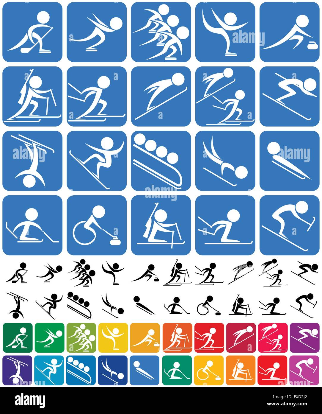 Set of 20 pictograms of the Olympic winter sports, in 3 versions. No transparency and gradients used. - Stock Vector