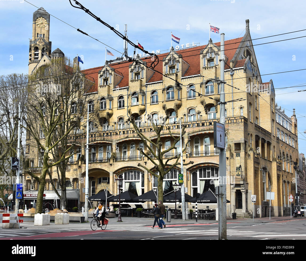 The American Hotel 1902 famous Art Nouveau style building in Leidseplein, Amsterdam Netherlands - Stock Image