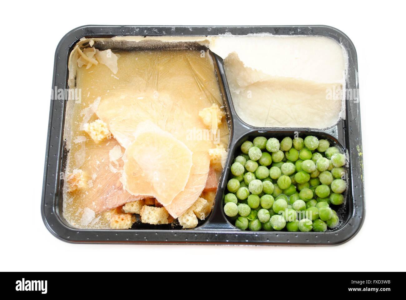 A Frozen Turkey TV Dinner Over White - Stock Image