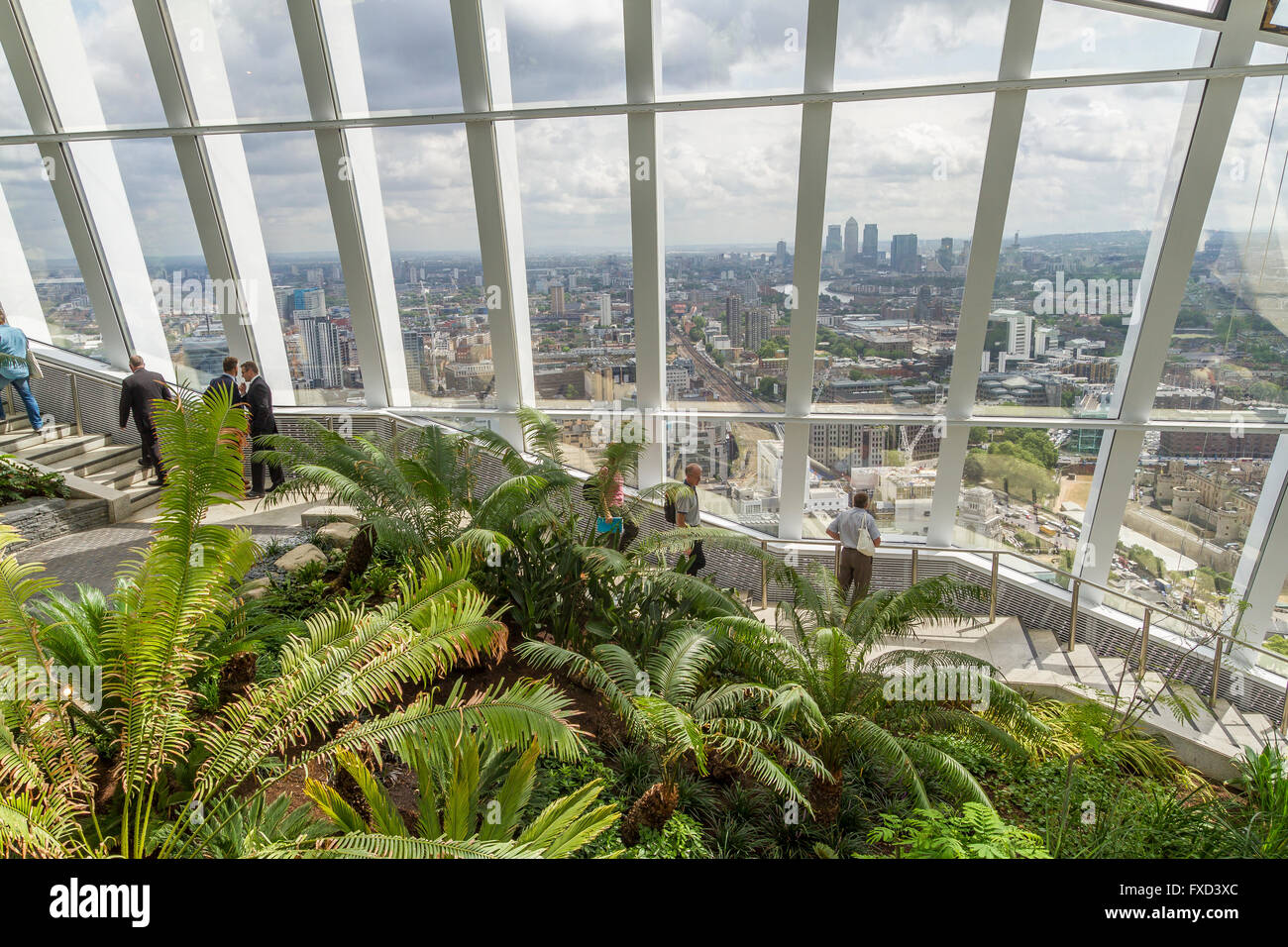 The Sky Garden ,at the Top of 20 Fenchurch St,or Walkie Talkie Building. One of London's best views with a bar - Stock Image