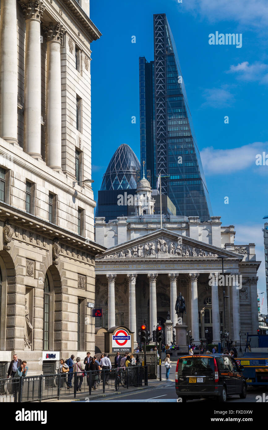 Bank Tube station and Bank Junction ,with The Royal Exchange,The Gherkin and The Leadenhall Building in the background - Stock Image