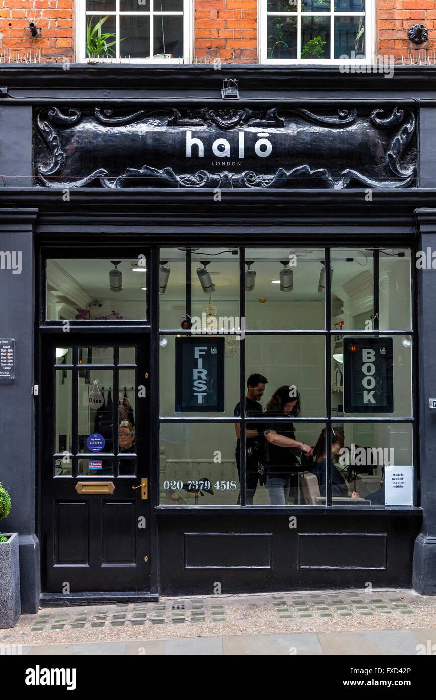Halo Hair Salon, New Row, Covent Garden, London, UK - Stock Image