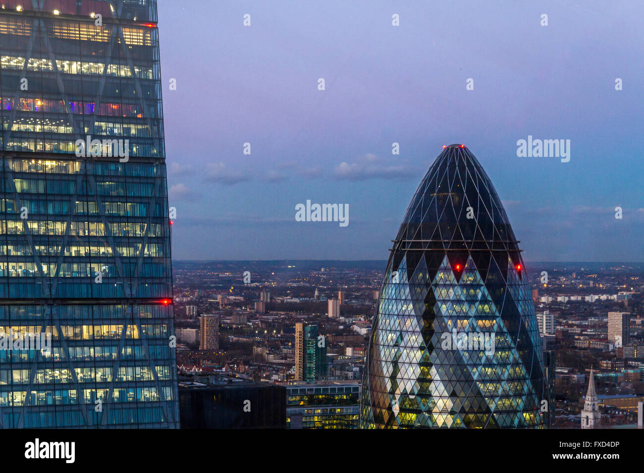 The Gherkin and the Leadenhall Building (Cheesegrater) from The Sky Garden at the top of 20 Fenchurch St, also  - Stock Image